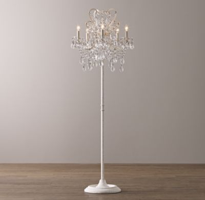 Rh baby s manor court crystal floor lamp vintage whiteinspired by an antique find our regal floor lamps scrolling arms are draped with strands