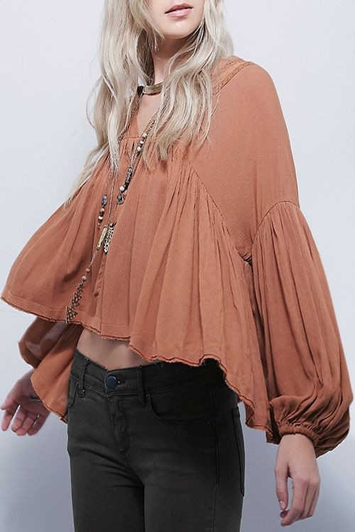 Stylish V Neck Long Puff Sleeve Solid Color Women's Blouse