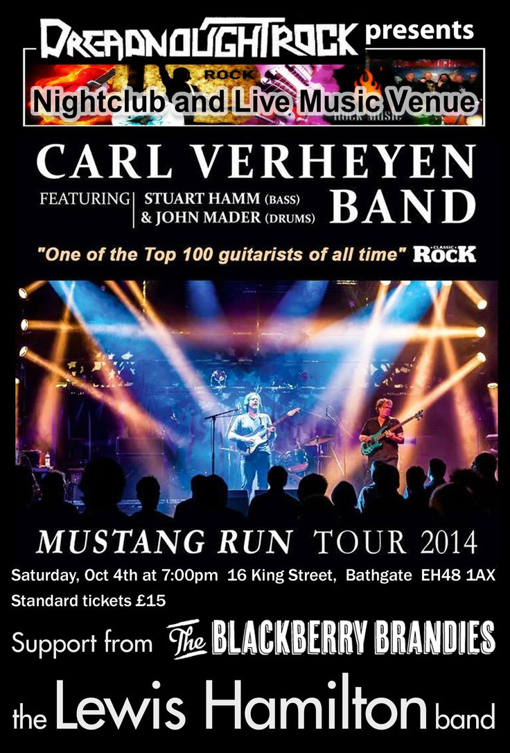 """We're supporting the legendary Carl Verheyen, with his trio consisting of John Madder and Stu Hamm, this Sat 4th Oct. Expect queues down the main street as this promises to be a BELTER of a gig.   """"One of the Top 10 Guitar Players in the World"""" Guitar Magazine  A member of the smash hit British rock group Supertramp since 1985, Carl has played to millions of enthusiastic fans in sold out arenas worldwide.   http://www.dreadnoughtrock.com/skiddleticketcentre.html"""
