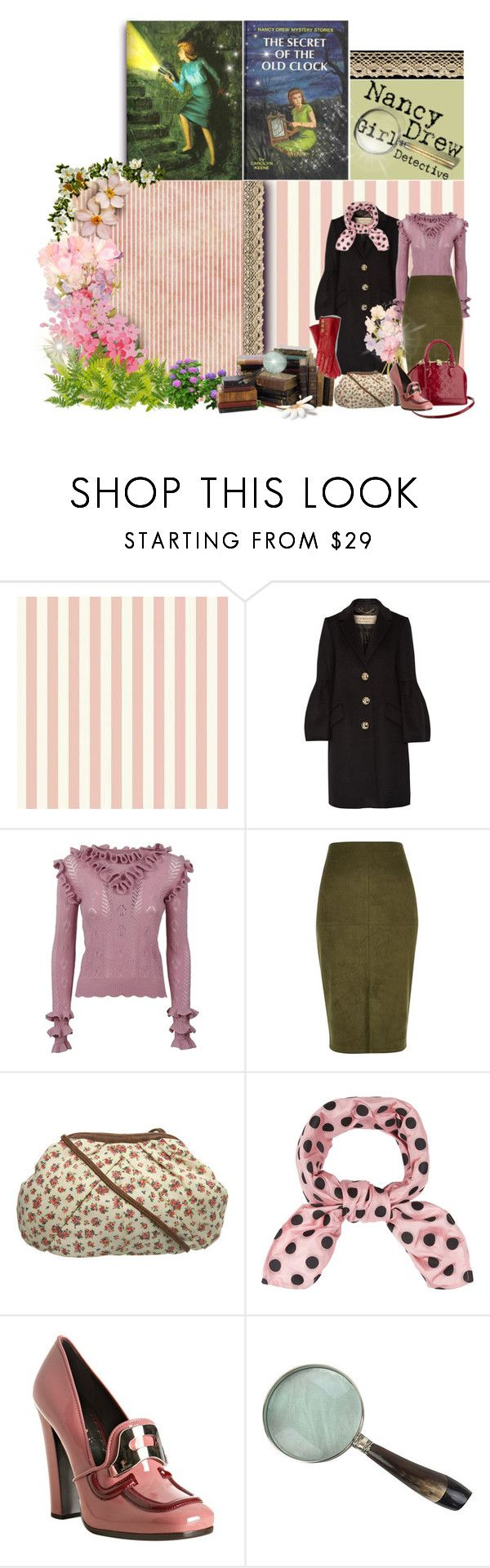 """""""Girl Detective"""" by renete ❤ liked on Polyvore featuring Burberry, Bastien, Gucci, River Island, Miss Selfridge, Miu Miu, Louis Vuitton, Prada, Coach and KEEP ME"""