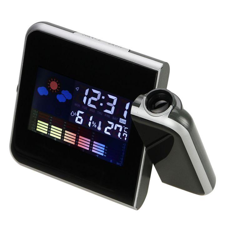 Projetor Projeção LCD Secretária Relógio Despertador Temporizador eletrônico Digital Termômetro Medidor de Umidade Estação Meteorológica Snooze Calendário em Despertadores de Home & Garden no AliExpress.com | Alibaba Group