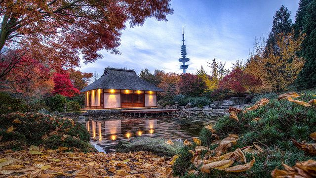 Herbst im Japanischen Garten im Planten und Blomen von Hamburg