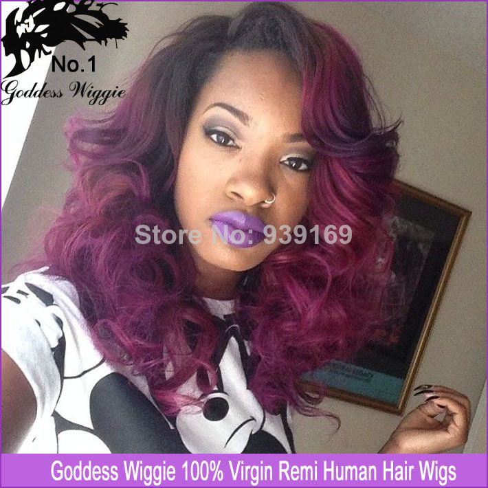 Wigs Directly From China Suppliers Remy Hair Purple Curly Glueless Full Lace Human African American Black Ombre Fr