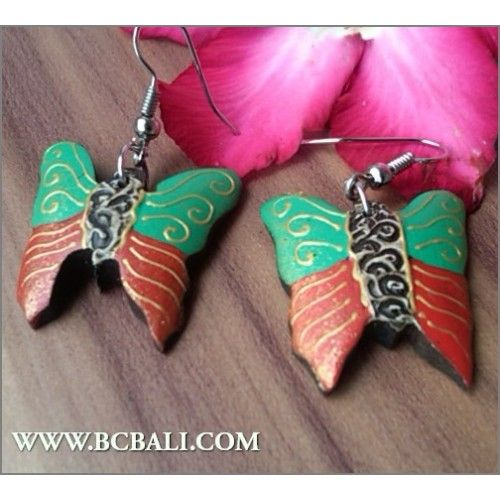 Bali Fashion Earrings Buterfly Painting Wood - handmade wood earrings painting carving, bali earrings buterfly wood coloring carving, suppliers accessories from bali indonesia, bali shop online jewellerry from indonesia, wholesaler jewelllerry fashion from bali indonesia, indonesia manufacture jewelle