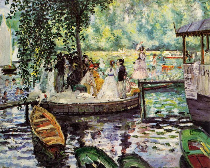 Pierre-Auguste Renoir - La Grenouillere, 1869. Pintura paralela a monet, pintada en el mismo lugar y tiempo. Son identicas pero con diferentes estilos. Hay un grupo de veraneantes vestidos elegantemente en una isleta, y el resto de gente está en un cafe a la derecha o nadando. En primer plano hay unos botes de remos y al fondo una hilera de arboles. Ambos son pintados directamente, con colores brillantes, ejecutado con rapidez y con una tematica burguesa. La diferencia es que Renoir centra…