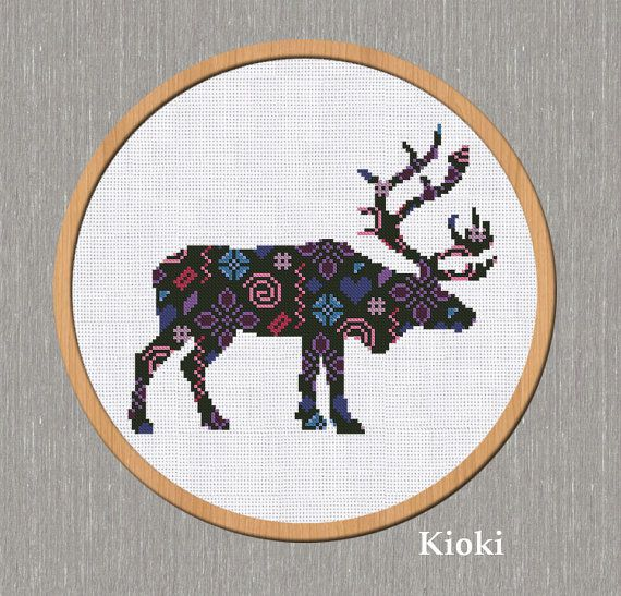 Cross Stitch Pattern Abstract deer Instant Download by TinyNeedle