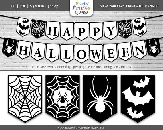 image about Printable Halloween Banners named Halloween Banner Printable,Black and White Satisfied Halloween