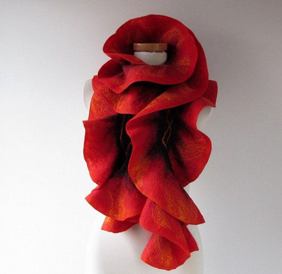 Felted ruffle scarf Red felt ruffle collar gift for her Wool