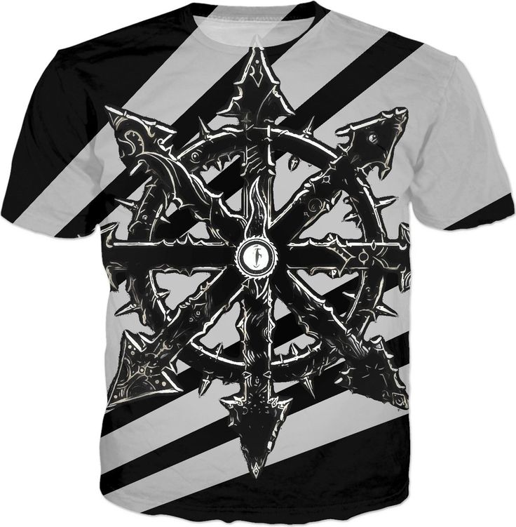Steampunk star logo all-over-print tee shirt, black and white design, rts gaming chaos marines - for more art and design be sure to visit www.casemiroarts.com, item printed by RageOn at www.rageon.com/a/users/casemiroarts - also available at www.casemiroarts.com This product is hand made and made on-demand. Expect delivery to US in 11-20 business days (international 14-30 business days). (time frames are aproximate) #shirts #clothing #style #unique #tees #fashion #apparel