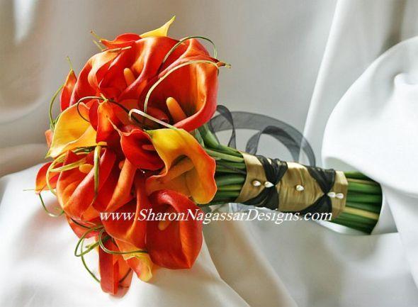 Burnt Orange And Chocolate Brown Wedding Bouquet Flowers
