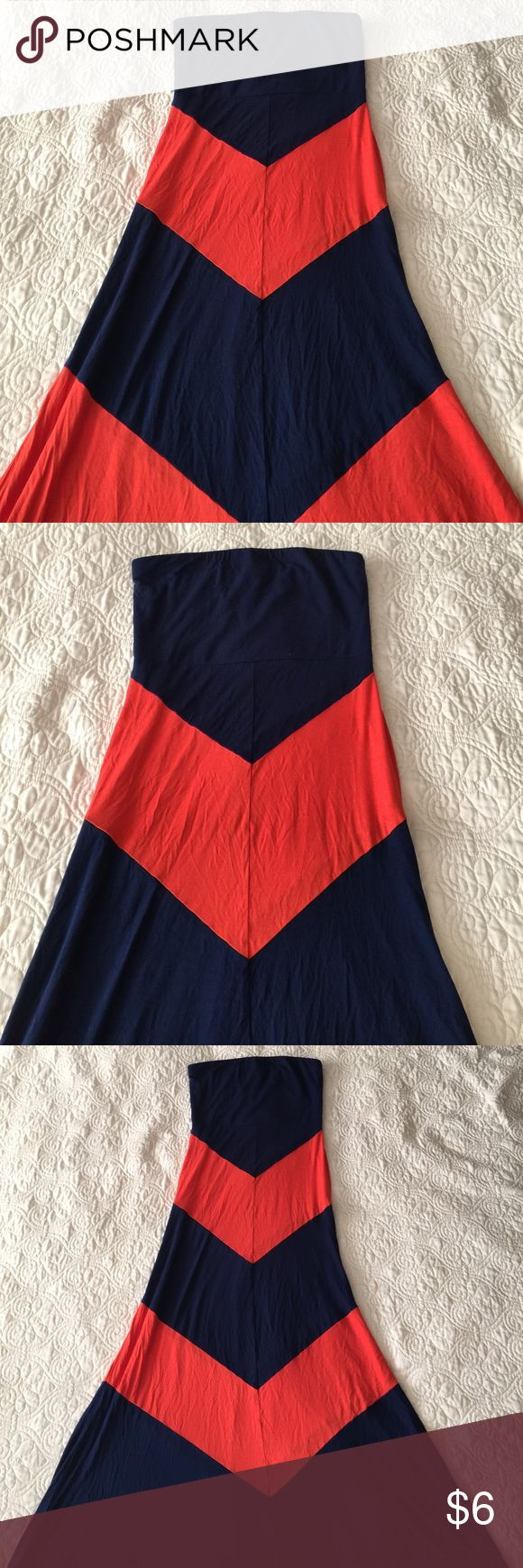 A'gaci Strapless Maxi Dress Size M Only worn once. Navy Maxi Dress with orange chevron print. In perfect shape! Some free home. Make an offer! Thanks for looking :) a'gaci Dresses Maxi