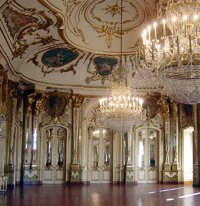 The ballroom in Queluz National Palace, Portugal, designed by Jean-Baptiste Robillon.