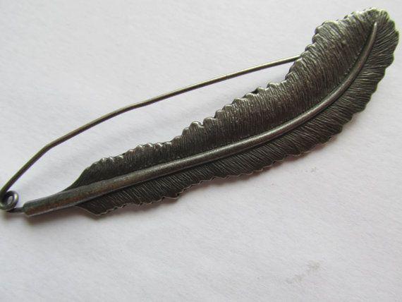 Kilt Pin / Shawl Pin  Feather by TheIrishKnittingRoom on Etsy