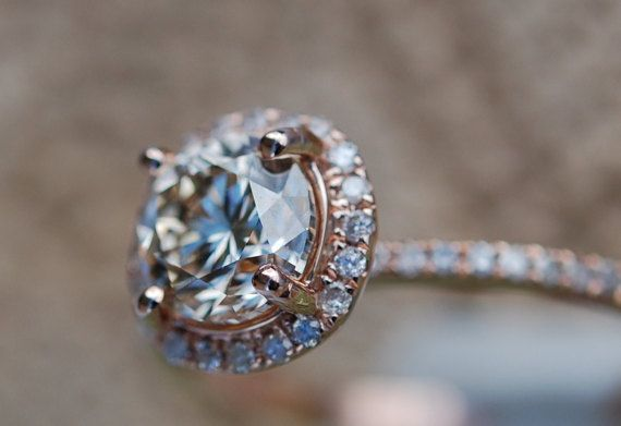 Rose gold engagement ring 1ct Champagne diamond by EidelPrecious