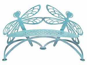 Dragonfly Bench, Verdi by Cricket Forge Outdoor Metal Furniture