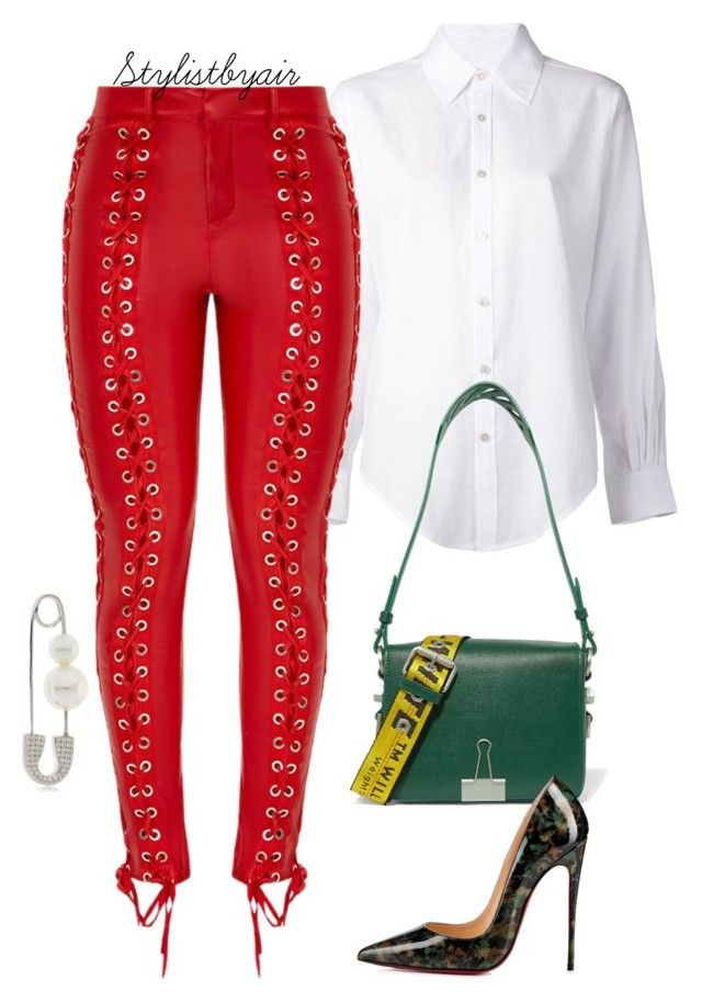 """""""Untitled #7598"""" by stylistbyair ❤ liked on Polyvore featuring Crippen, Off-White, Christian Louboutin and APM Monaco"""