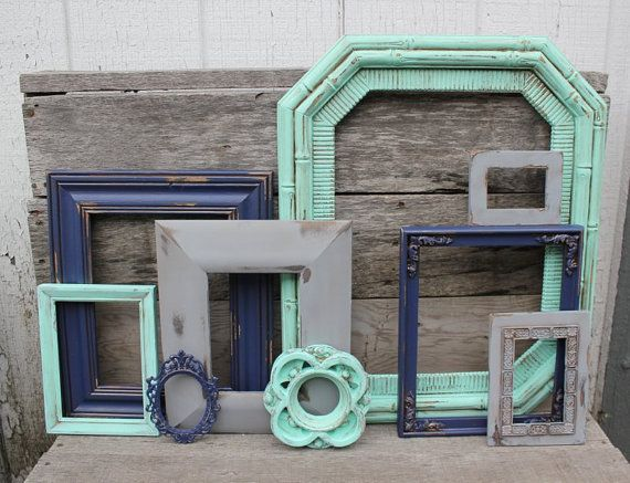 set of 9 upcycled picture frames mint grey and navy blue painted frames distressed scatter frames nursery or home decor gray decor