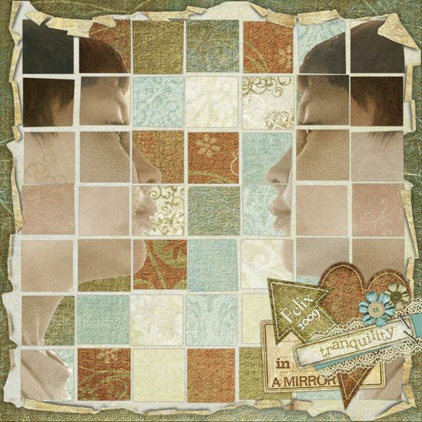 I was just playing with blending  and thought it turned out beautiful.. Here I used Cheerful Grandma Kit by Szunyo and the Image blocks template by Vinnie Pearce.