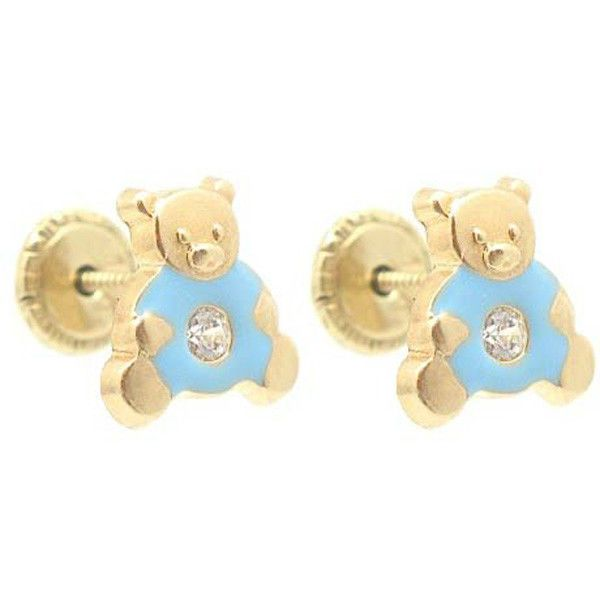 Baby/Children 14K Yellow Gold Enamel Blue Teddy Bear Screw-Back  Earrings  #Limor #Stud $36