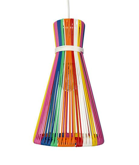 Add a pop of colour to your home with this fabulous Diabolo shaped Multicoloured Wire Lampshade made from Mexican clothes line.