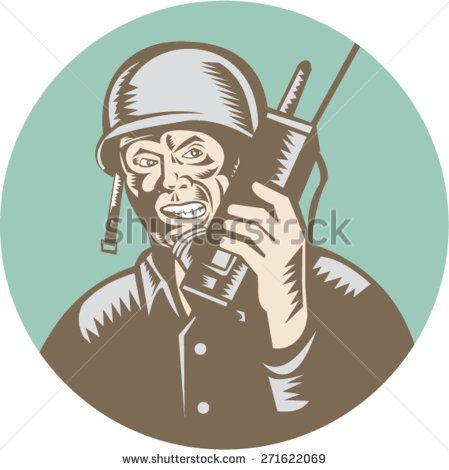 Illustration of a World War two American soldier serviceman talking on field radio walkie-talkie viewed from front set inside circle on isolated background done in retro woodcut style.   #soldier #veteran #woodcut #illustration
