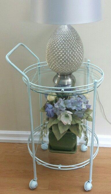 Vintage Tea cart painted in Seaglass Blue Chalk Paint