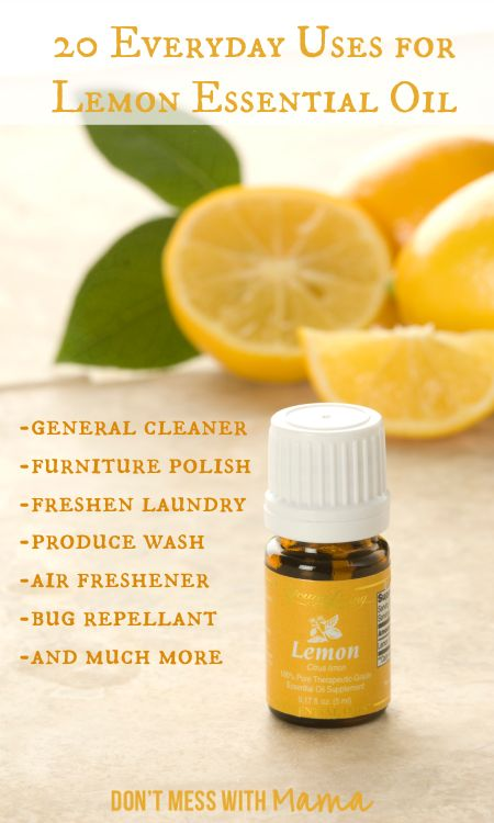 20 Everyday Uses for Lemon Essential Oil .Cleaner~5-6 drops and 1-2 tsp ACV  in 1-2 c water in spray bottle.Detox drinking water~1-2 drops oil in cold glass of water.Sore throats~ 1-2 drops with raw honey in mug of warm water.