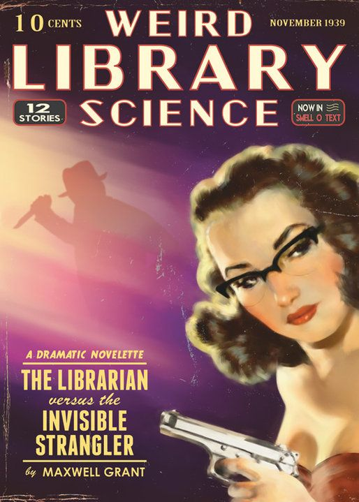 Weird Library Science magazine Nov 1939 pulp cover art, woman dame glasses pistol gun man knife danger The Librarian Versus the Invisible Stranger