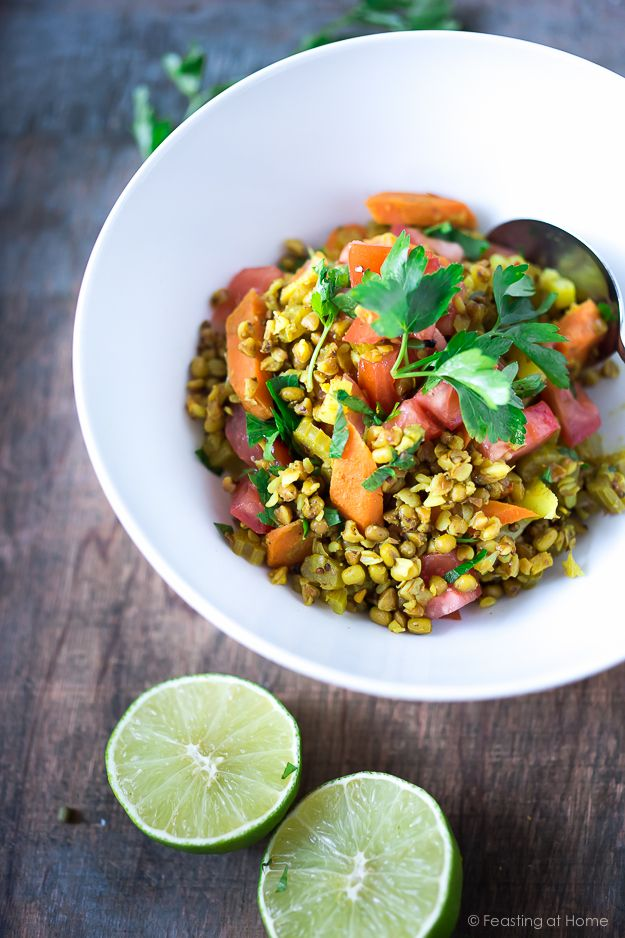 Healthy Detox Bowl- an ancient gentle way to detox, this Ayurvedic recipe features mung beans, kashi (toasted buckwheat) cleansing vegetables and Indian spices like ginger and turmeric.