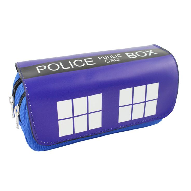 2017 Hot Doctor Who Pen Bag Purse Blue Police Box Big Capacity Double Zipper Pencil Case Stationery Students Leather Wallets