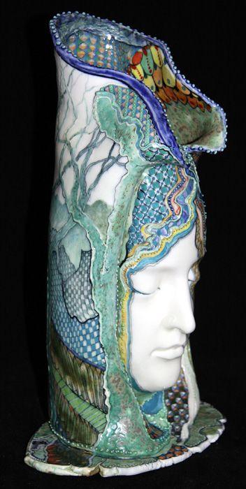 Face in vased David Burnham Smith - Master Ceramic Artist