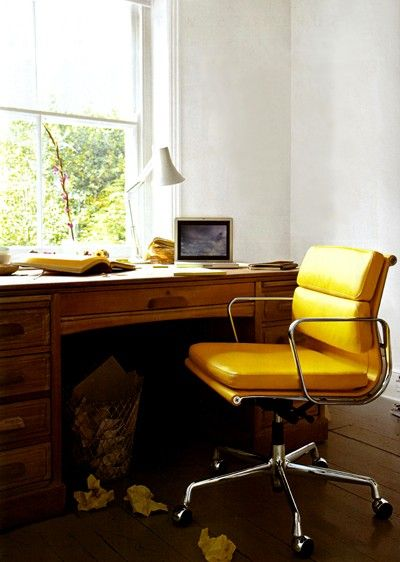 Eames leather desk chair in marigoldFunky Chairs, Eames Chairs, Eames Desks Chairs, Offices Spaces, Interiors Design, Charles Eames, Office Chairs, Offices Chairs, Home Offices