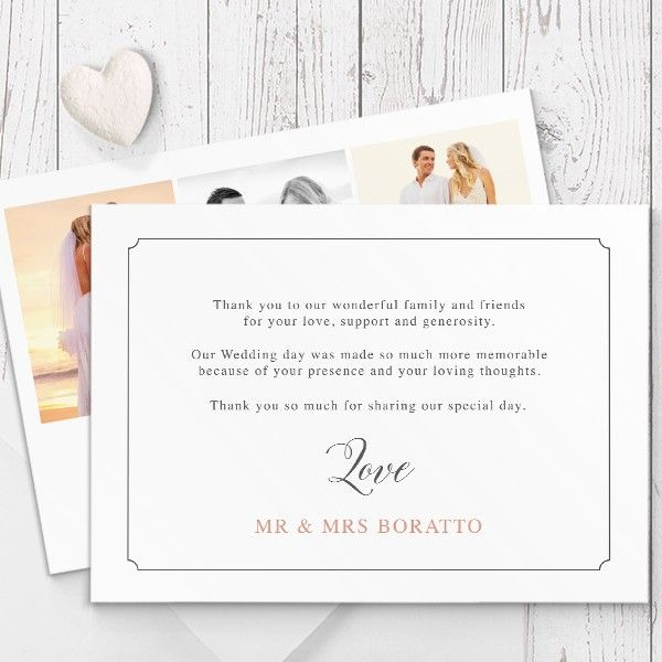 Custom wedding photo thank you cards printed on luxury cardstock, double sided, by Peach Perfect Australia