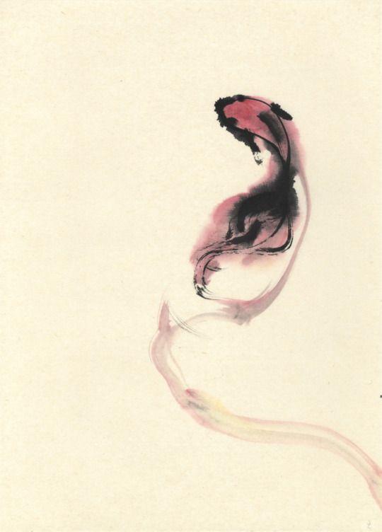Ko Ushijima Art Works. 1105-5 2011.  33x24cm . sumi ink, water color on handmade paper.