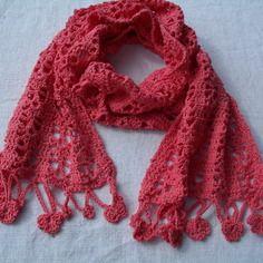 Écharpe corail au crochet en coton et mérino