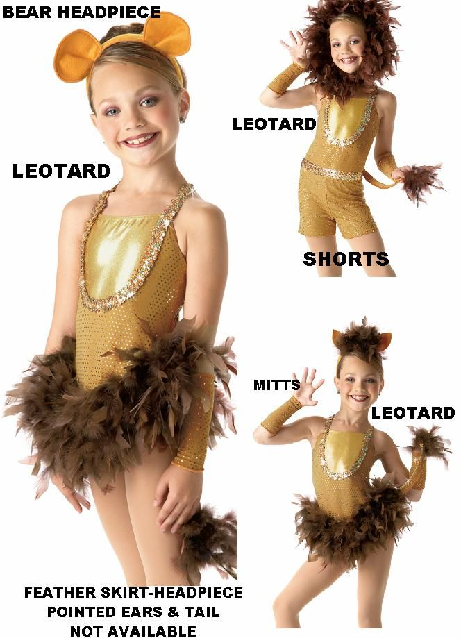 Dandy Lion Reindeer Dance Christmas Costume Choice Leotard w Mitts Ears Shorts | eBay
