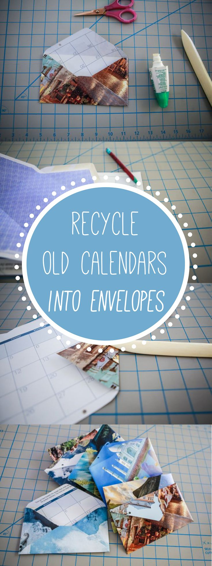 Great idea! Recycle old calendars into super simple envelopes. Who wouldn't want to get this in the mail? It makes your letter that much more special.  http://www.ehow.com/how_12340179_recycle-old-calendar.html?utm_source=pinterest&utm_medium=fanpage&utm_content=inline