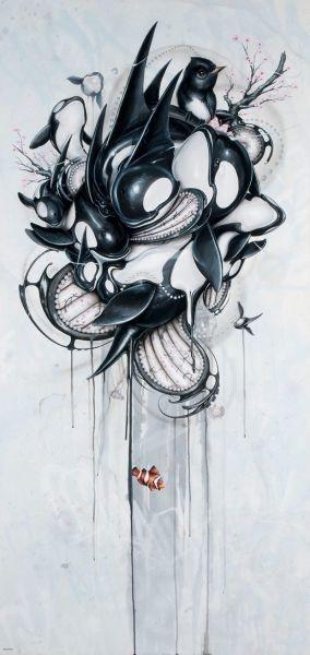 "Greg Craola Simkins - ""Guardians"" - 68 x 32-1/2 in. - Acrylic & spray paint on panel, 2011"