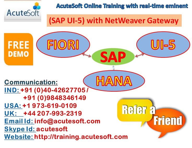 Free Demo on SAP Flori and SAP UI-5 with Netweaver Gateway from AcuteSoft Solutions.