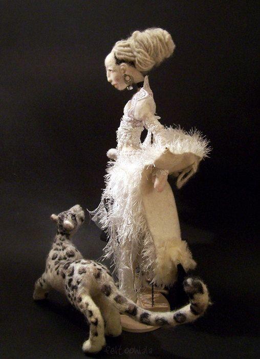 Snow a needle felted art doll by feltoohlala