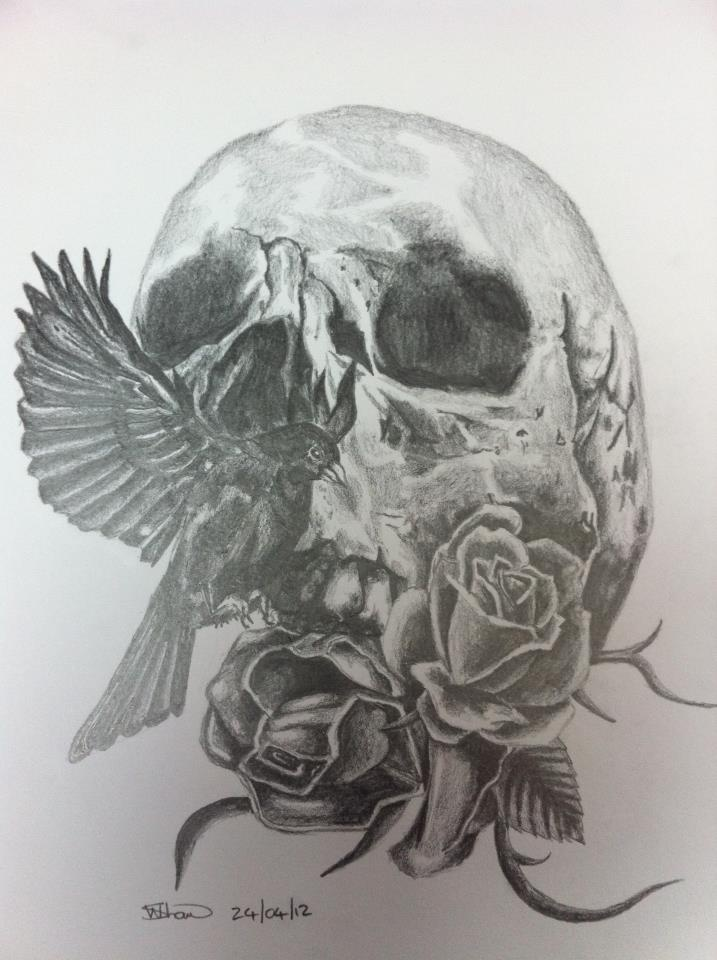 Tattoo design pencil on paper a4 skull bird roses for Drawing tattoos on paper