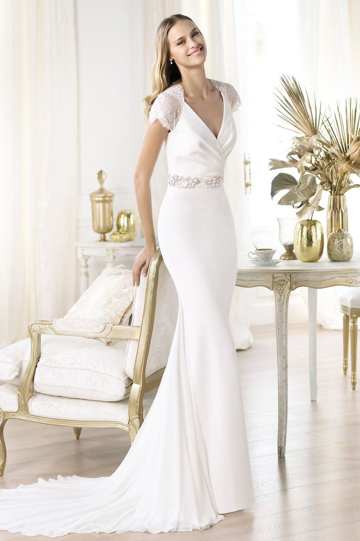 wedding dresses wedding dress shop online Shop Vintage V Neck Cap Sleeve Mermaid Wedding Dress Chiff With Sash Online affordable for each