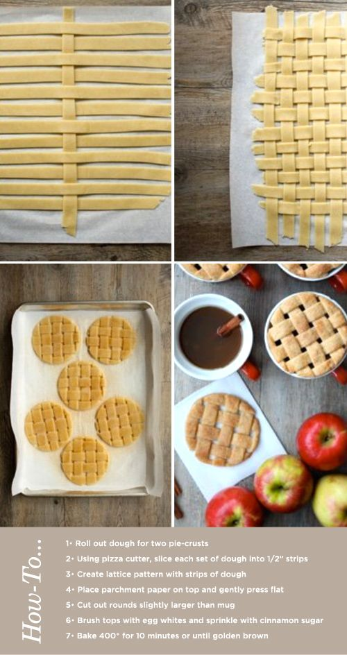 Lattice Apple Cider Cookie Tops - Roll out the dough for two pie-crusts, slice into thin strips, create lattice pattern cut into rounds and bake