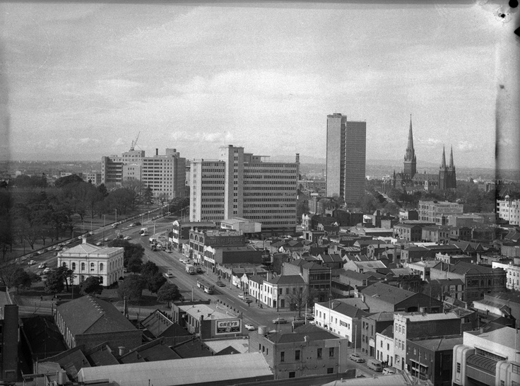 1959 View of ICI and Commonwealth Buildings taken from the Police Building in Russell Street. VicRoads Centenary 1913-2013. www.vicroads.vic.gov.au/centenary