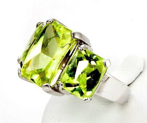 Apfelgrüner Zirkoniaring aus Silber 925 | Bella Diva Jewellery&Accessories