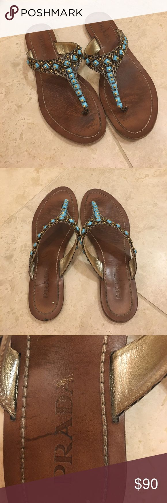 Prada Beaded Flip Flops Brown leather beaded Prada Flip flops Prada Shoes Sandals