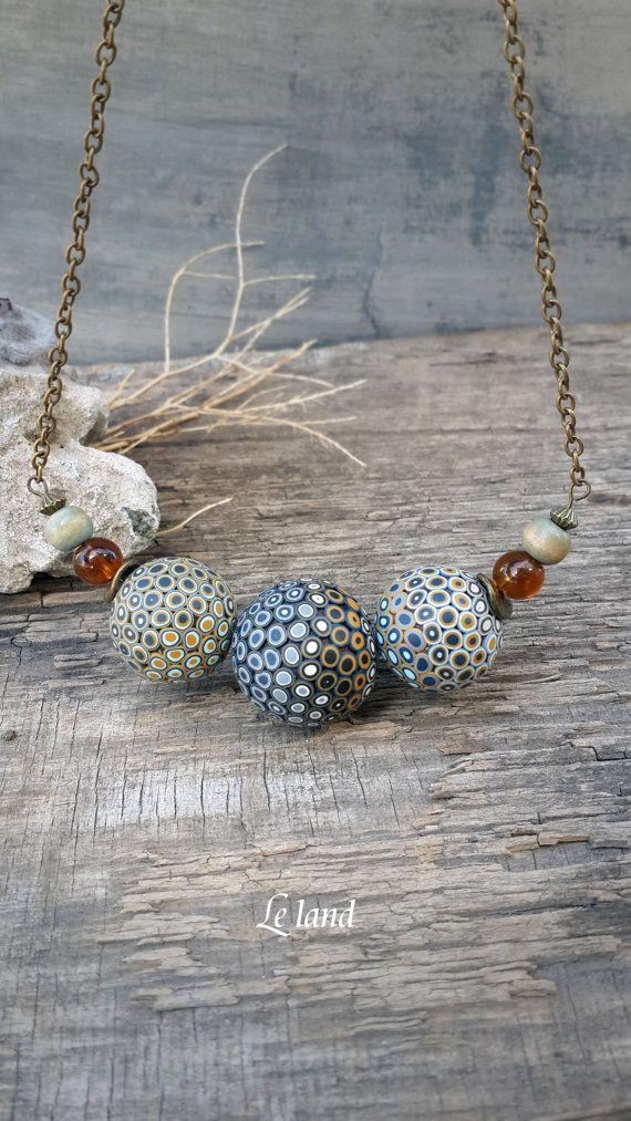 Original Beads Necklace Polymer Clay Jewelry Gift by Lelandjewelry