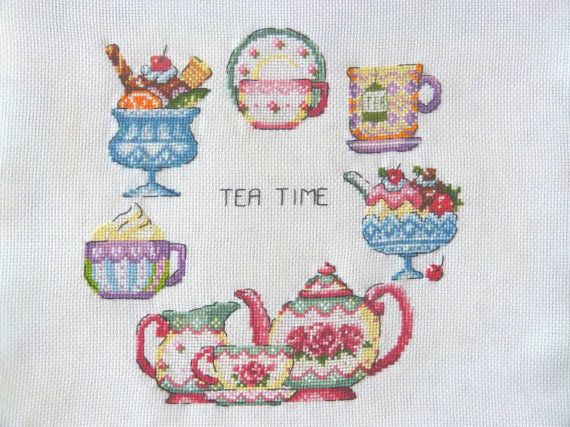 Finished Cross Stitch Tea time by CrossStitchElizabeth on Etsy