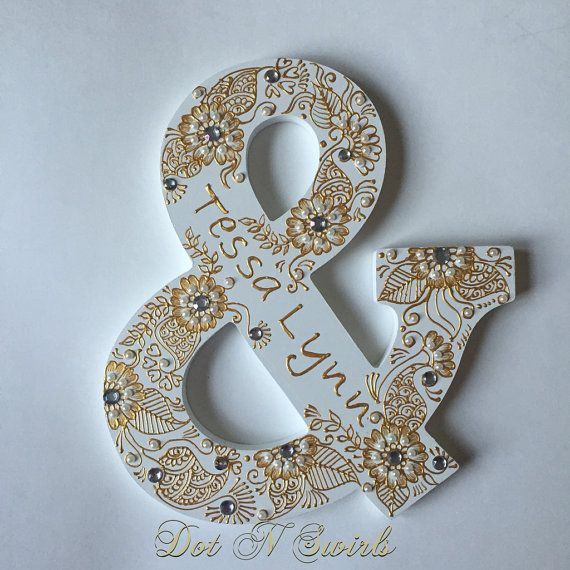Personalized hanging wooden letterHenna inspired by dotnswirls