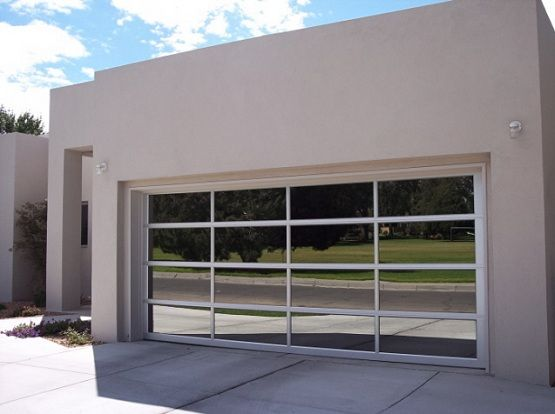 Contemporary glass garage doors. One way see glass door?